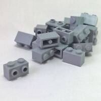 20 NEW LEGO Light Bluish Gray Brick, Modified 1 x 2 Studs on 1 Side