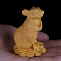 "2.4"" Chinese Box-wood Hand Carving Zodiac Wealth Mouse Corn Animal Pet Statue生肖鼠"