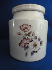 Vintage House Of Webster Briar Rose Pattern Ceramic Flat Lid Jar W/Gold Trim