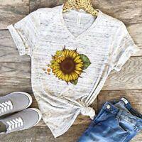 Women's O-Neck Short Sleeve Print Graphic T-Shirt Blouse Sunflower Casual Tops