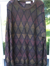Norm Thompson Brown Geometric Design Warm Crewneck Sweater Medium Made in Italy