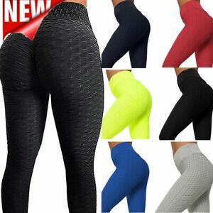 Plus Size High Waist Yoga Pants Anti-Cellulite Leggings Gym Trousers Honeycomb