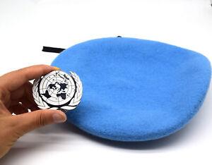 UN Peacekeeping Force Woolen Cap Hat UN BLUE BERET With UN Siliver Badge 59CM