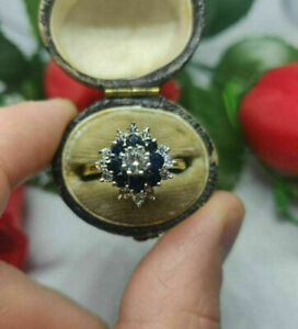 1.50Ct Round Cut Blue Sapphire & Diamond Engagement Ring 14Kt Yellow Gold Over