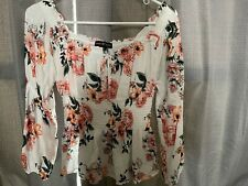 almost famous blouse; white with floral; off shoulder; tied neckline