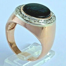 Men's 18K Yellow Gold Onyx Diamond Ring 11g, Size 9.5