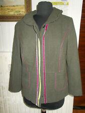 Blazer Veste polyester/laine vert stretch LEWINGER 44F 16UK surpiqué liseré rose