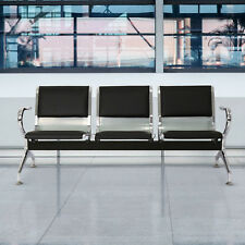 Heavy PU Leather 3 Seat Office Bank Airport Reception Waiting Room Bench Chair