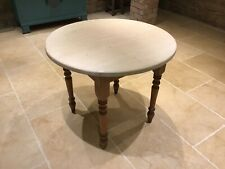 Circular Pine Table Vintage Rustic Old Farmhouse Dining Kitchen Round White