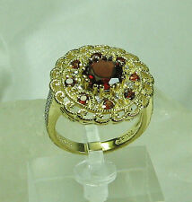 HSN Garnet Gemstone & Filigree Technibond 925 Gold Plated Sterling Ring SZ 7