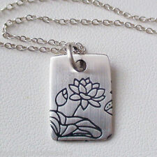Lotus Flower Charm Necklace - 925 Sterling Silver - Etched Pendant Namaste Yoga