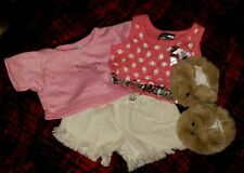 Cute Build A Bear Lot - 2 Shirts, White Shorts and Bear slippers
