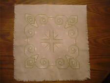 "ANTIQUE BEAUTIFULLY HAND CROSS-STITCHED 19""x 19""  PIECE FOR FRAMING/PILLOW"