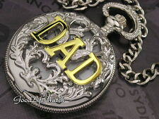 Antique Style DAD Logo Pocket Watch Chain Silver Brushed Gift Box WTP1075