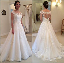 2017 White Ivory A line Wedding Dresses Appliques Cap Sleeves Bridal Gown Custom
