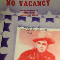 Vintage Sheet Music No Vacancy 1946 Merle Travis Cliffie Stone American Music