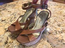 Jessica Simpson Tan / Brown Leather Cork Wedge Platform Strap Sandals 5.5B EUC