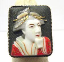 VINTAGE STERLING SILVER JAPANESE ENAMEL PORCELIAN RING ADJUSTABLE 5.2 GRAMS