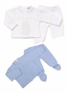 Dandelion 2 pcs Baby Boys Diamond knitted 2 piece legging set Sky Blue or White