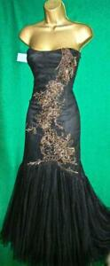 New KAREN MILLEN Uk12 Black Strapless Beaded Tulle Fishtail Long Maxi Prom Dress