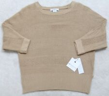 New Tan Sweater Petite Small PS Crewneck Solid 3/4 Sleeve Liz Claiborne Cotton