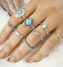 8Pcs/Set Retro Boho Turquoise Moon Stone Ring Small Midi Knuckle Ring Chic Gift