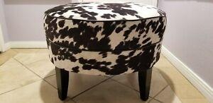 "Black & White Cowprint 25"" Round Ethan Allen Ottoman Footstool Bench"