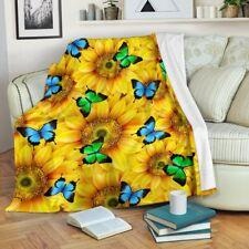Sunflowers & Butterflies Blanket, Sunflower Lover Blanket For Child & Adult
