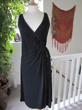 Laura Ashley Black Flowing Wrap Dress with Silk Mix Trim Size10 Excellent Con.