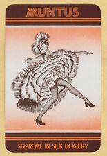 1 Single VINTAGE Swap/Playing Card ADV MUNTUS STOCKINGS CANCAN PINUP LADY Orange