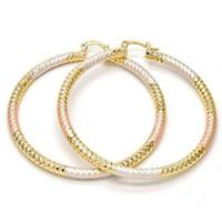 Extra Large Three Tone  Round Hoop Earrings 14k Gold Layered (70mm x 4mm)