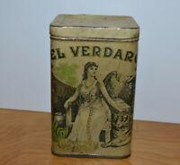 Vintage EL VERDARO CIGAR TIN Advertising Metal Container Tobacciana