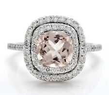 2.58 Ct Natural Genuine Morganite and Diamonds 14K Solid White Gold Women Ring
