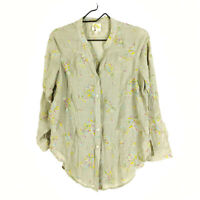 Anthropologie Fig And Flower Blouse Shirt Gray S Embroidered Floral Long Sleeve