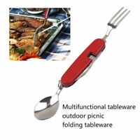 4in1 Folding Stainless Steel Spoon Fork Knife Tableware Multi Tool Camping DT