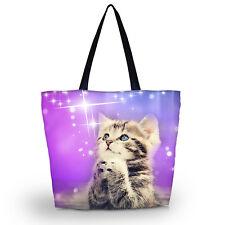 Cute Cat Reusable Bag Tote Women's Shopping Bag Shoulder Bag Lady Handbag