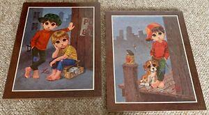 Vintage 60s Sad Eye Boys Puppy Dog Wall Hanging Plaques Mid Century Modern Lee