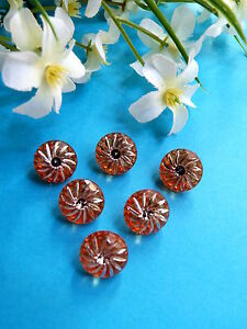 """481B/Lovely Buttons """" Star Wishing """" Orange Star D'Silver 6 Buttons"""