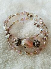 Fine Sterling Silver One Of A Kind Memory Wire Bracelet Semi Precious Stones