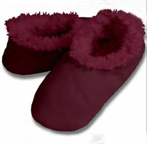 Snoozies Maroon Solid Tween sz Small 2 / 3 Non-Skid Soles Slipper Socks New