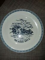 Currier & Ives The Sleigh Race Blue and White Pie Plate