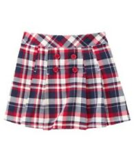 Gymboree Homecoming Kitty Size 4 New Blue Red Plaid Skort Bike Shorts Skirt Girl