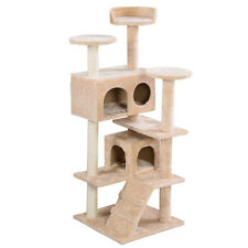 "Beige 52"" Cat Tree Tower Condo Home Furniture Scratch Post Kitty Pet House"