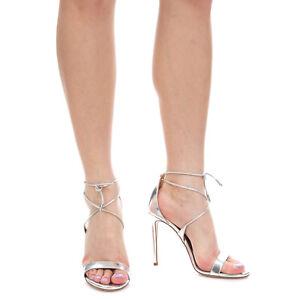 RRP €570 AQUAZZURA LINDA Leather Ankle Tie Sandals EU 37 UK 4 US 7 Made in Italy