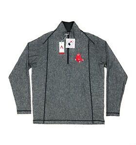 Boston Red Sox MLB Antigua Tempo Mens Large 1/4 Zip Heather Gray Pullover Jacket
