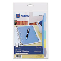 """Avery Write & Erase Big Tab Plastic Dividers, 5-Tab, 5 1/2 X 8.5"""