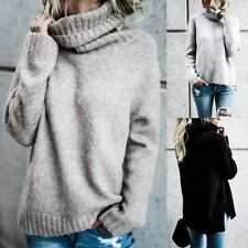 Womens Polo Neck Winter Ladies Tops Chunky Knitted Oversized Sweater Jumper UK