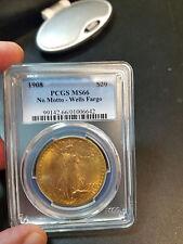 1908 $20 NO MOTTO SAINT GAUDENS WELLS FARGO MS66 PCGS GORGEOUS COIN