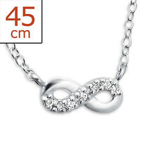 925 Sterling Silver Infinity Inline Jewelled Necklace Cubic Zirconia Girl Women