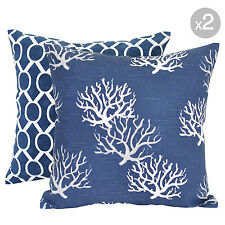 Set of 2. Sydney Navy + Isadella Coral Navy Cushion Covers - 45x45cm